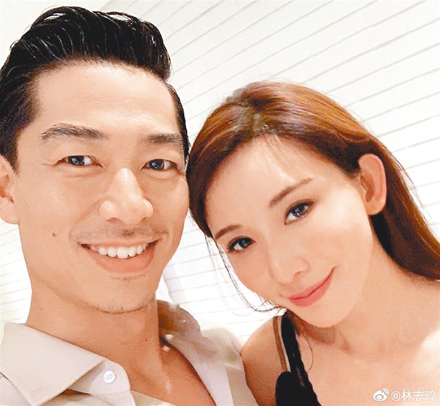 林志玲(右)和老公AKIRA(左)。(取材自微博)