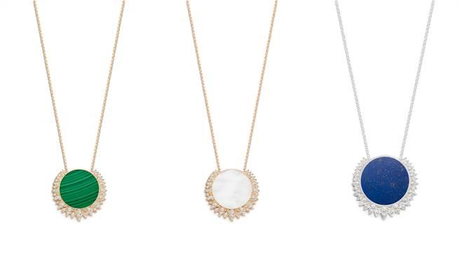 Sunlight系列孔雀石18K玫瑰金鑲鑽墜鍊、珍珠母貝18K玫瑰金鑲鑽墜鍊、青金石18K白金鑲鑽墜鍊。(圖/品牌提供)