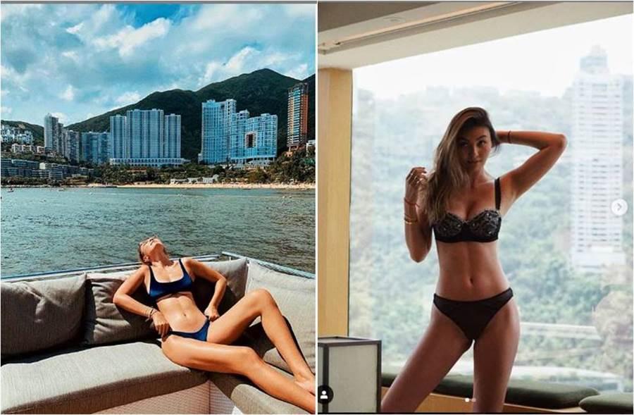 作風豪放的王麗嘉,大方分享比基尼照,辣曬南半球(圖左)。(圖/取材自王麗嘉Instagram)
