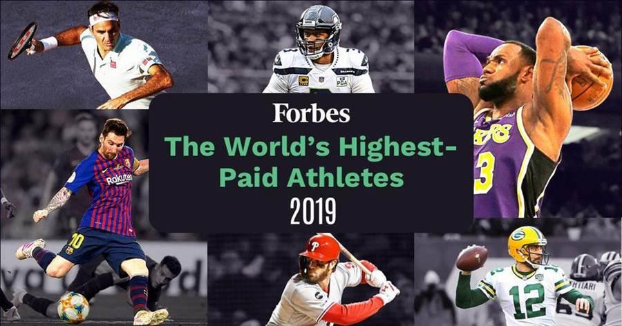 富比士公布2019年運動員收入排行榜,梅西、C羅與內馬高居前三,詹姆斯、柯瑞和杜蘭特分居八、九、十。(摘自富比世官網)