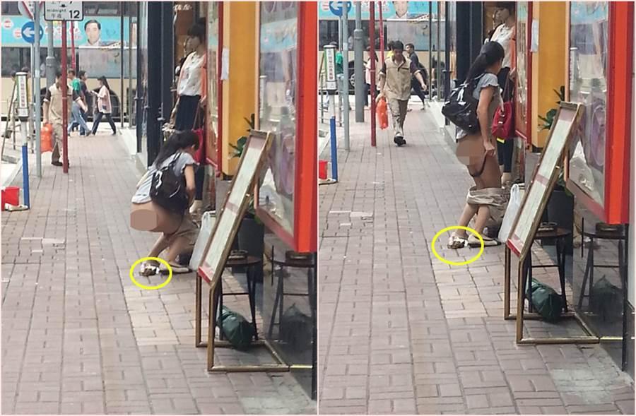 有女子在香港街頭脫褲解放「黃金」。(照片來源:FB社團《香港花生友》)