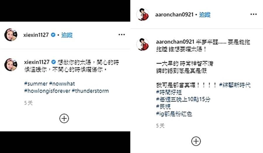 阿翔和謝忻疑似隔空示愛。(圖/翻攝自xiexin1127、aaronchan0921 IG)