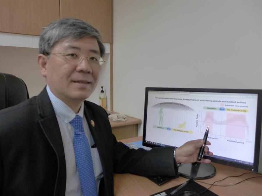 中國醫藥大學公共衛生學院院長黃彬芳研究發現,PM2.5對人體危害最關鍵時期分別為胎兒時期6至22周、出生後9至46周。(林欣儀攝)