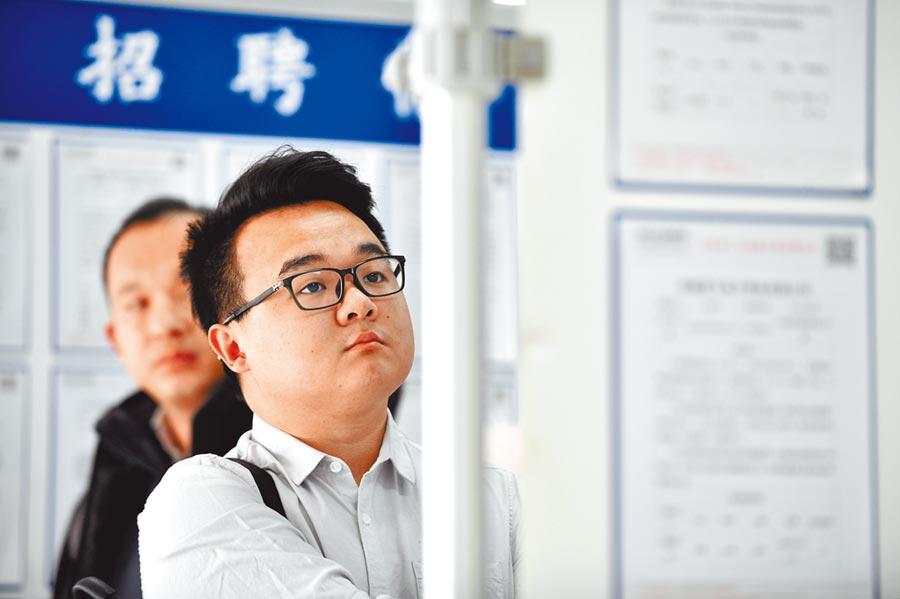 人力資源市場,求職者在查看招聘資訊。(新華社資料照片)