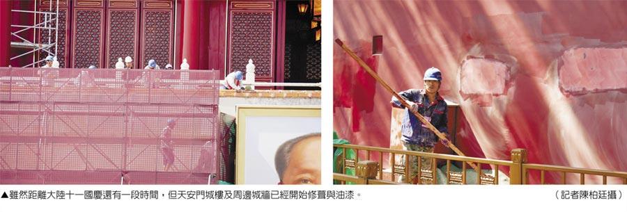 雖然距離大陸十一國慶還有一段時間,但天安門城樓及周邊城牆已經開始修葺與油漆。(記者陳柏廷攝)