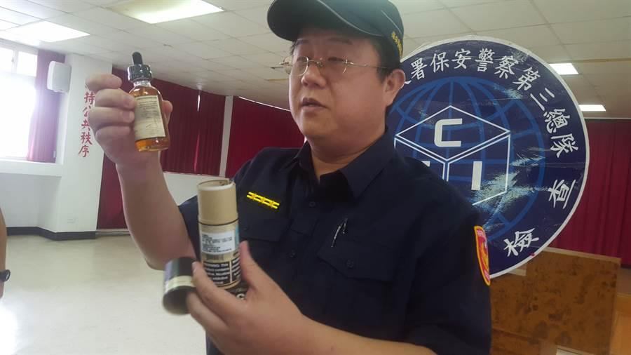 保三总队第一大队查获8155瓶的非法电子烟油,市值约600万元,警方表示,依药事法最高处10年以下有期徒刑,併科罚金1亿元以下。