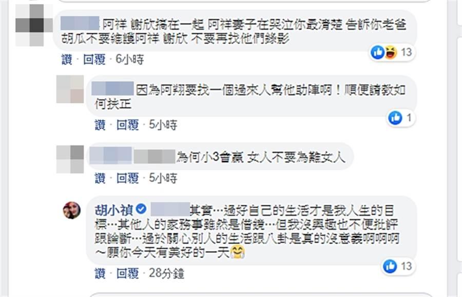 小禎回應網友。(圖/翻攝自胡小禎臉書)