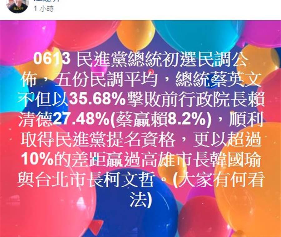 網友在臉書韓國瑜後援會發文。翻攝韓國瑜後援會臉書