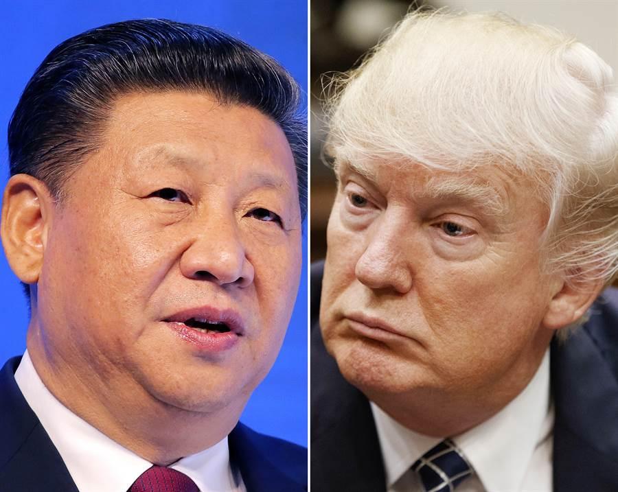 图为美国总统川普与中国大陆国家主席习近平。(美联社)
