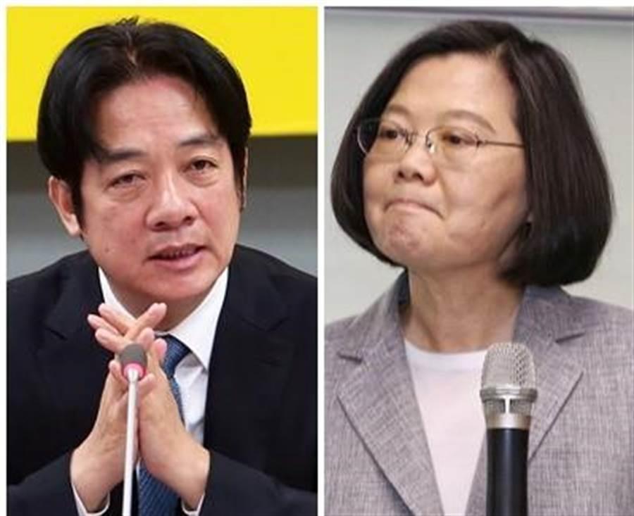 民進黨總統初選民調,總統蔡英文(右)為35.6768%、前行政院長賴清德(左)為27.4843%,以8個百分點勝出。(圖/資料照片合成)