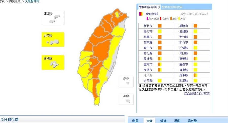 今晚到明晨全台都有雨,氣象局對21縣市發布大雨或豪雨特報。(圖/取自氣象局網頁)
