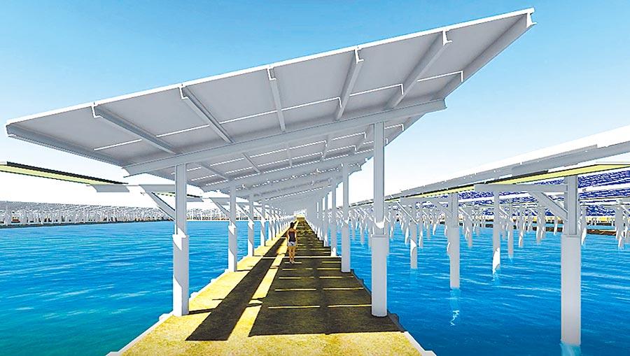 綠能業者推動漁電共生,在魚塭建置太陽能電板。(台鹽綠能提供)