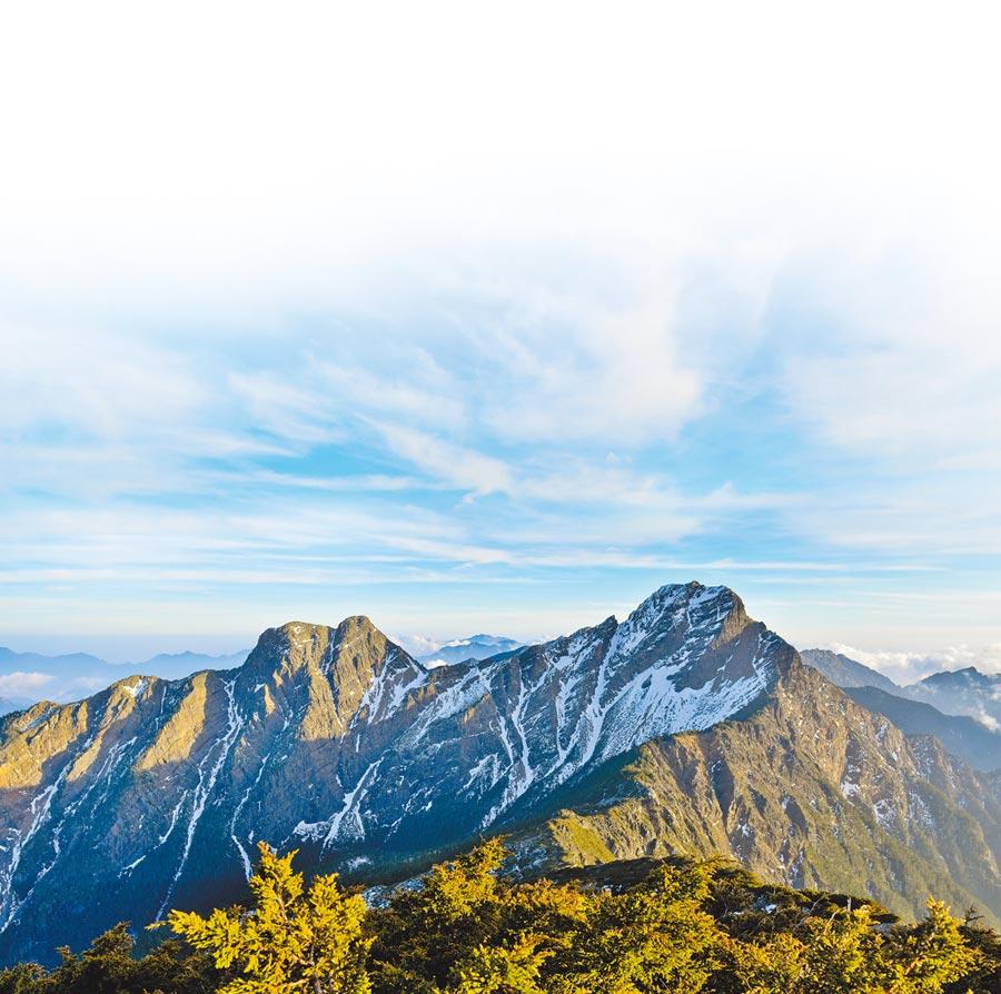 玉山東峰(左)與玉山主峰。