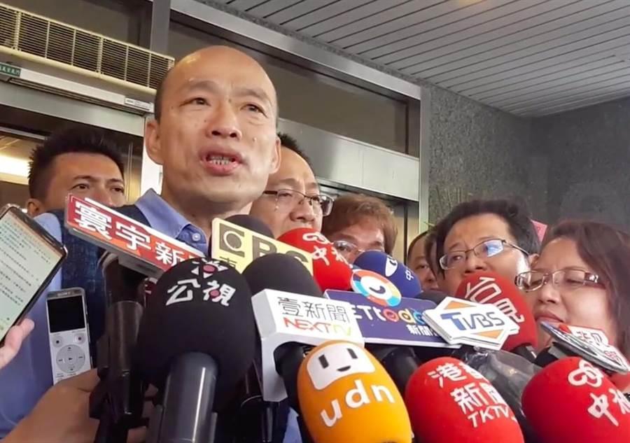 韓國瑜認為網傳揶揄影片模糊中央與地方合作的焦點,他呼籲中央儘速核撥經費,協助高雄渡過難關。(袁庭堯攝)