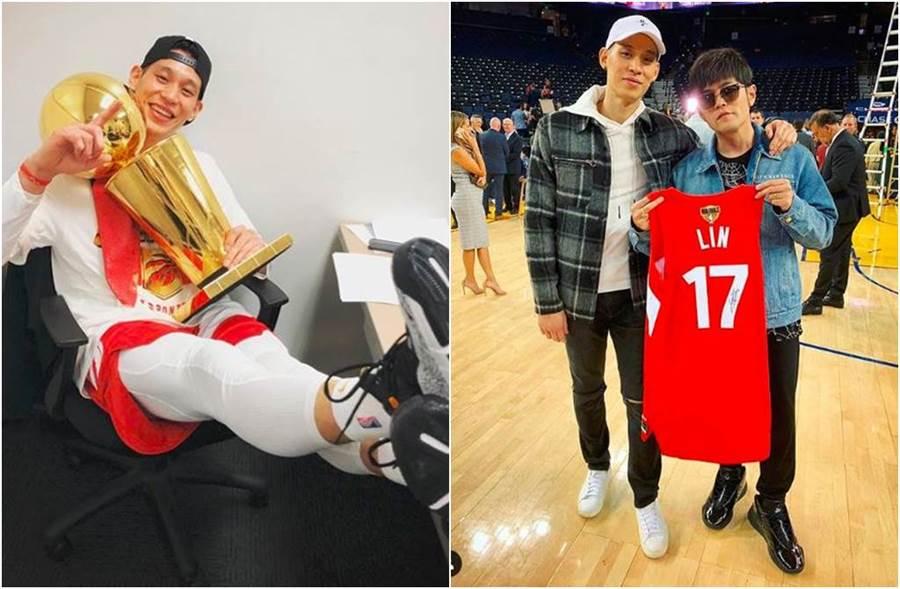 林書豪成為NBA史上首位贏得冠軍戒的亞裔球員,周杰倫開心道賀。(圖/翻攝自IG)