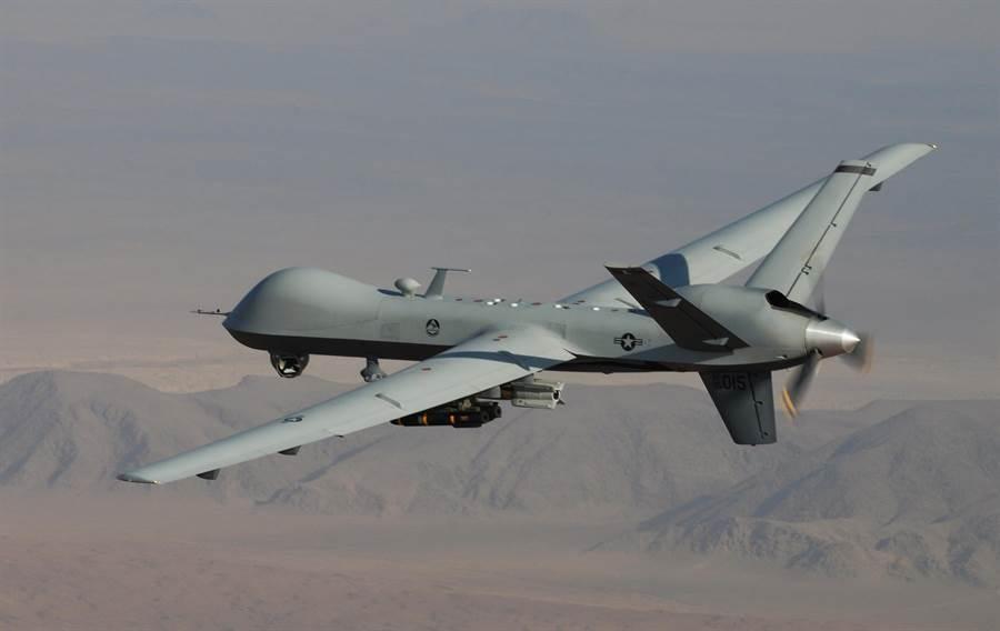 美國MQ-9「死神」無人機在阿富汗南部執行戰鬥任務的資料照。(美國空軍)