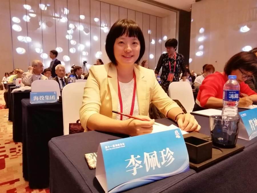 宜蘭女孩李佩珍因為對海滄社區規劃的貢獻,被破格聘為海峽城鄉研究發展基金會祕書長。(記者洪肇君攝)