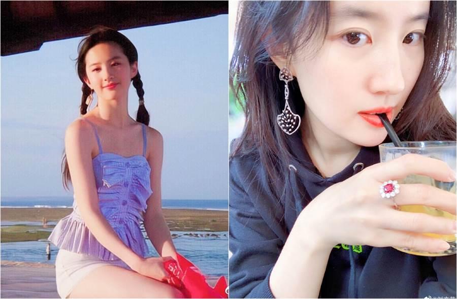 網上流傳出一組劉亦菲舊照(左圖)。(圖/翻攝自私服搭配菌、劉亦菲微博)