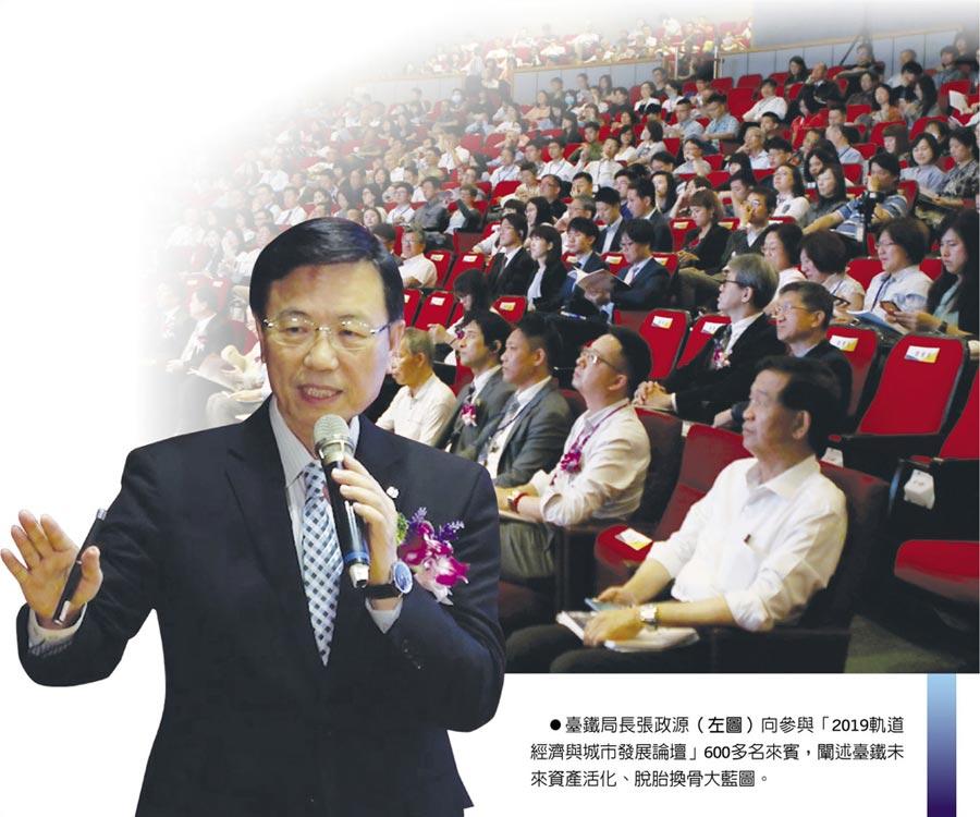 臺鐵局長張政源(左圖)向參與「2019軌道經濟與城市發展論壇」600多名來賓,闡述臺鐵未來資產活化、脫胎換骨大藍圖。