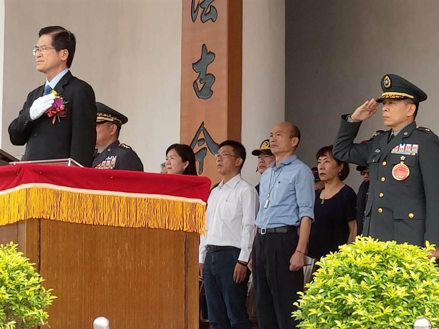 韓國瑜上午以陸官校友身分全程參加陸官校慶。(呂昭隆攝)