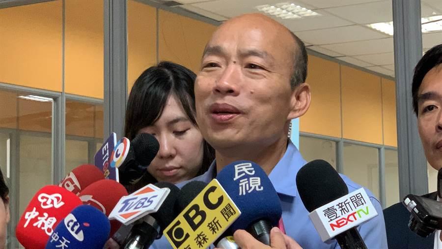 高雄市長韓國瑜今天證實6月30日將出席新竹場造勢活動。(柯宗緯攝)