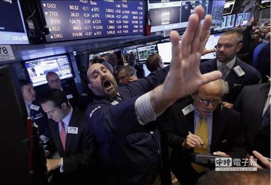 專家透露百年數據分析,現今美股若掉進熊市,道瓊指數將崩跌近1萬點。(美聯社)