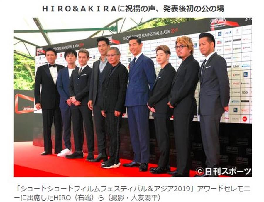 AKIRA(右四)和HIRO(右一)報喜後,今出席「亞洲短片電影節」活動。(圖/翻攝自日刊體育報)