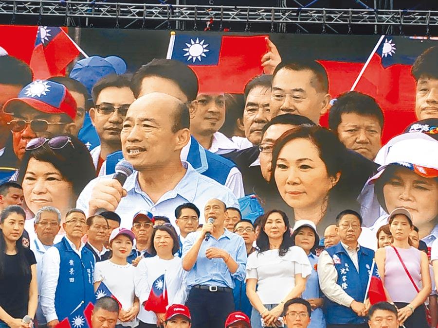 高雄市長韓國瑜15日回到雲林岳家造勢,吸引12萬支持者前來相挺,受到空前歡迎。(張朝欣攝)