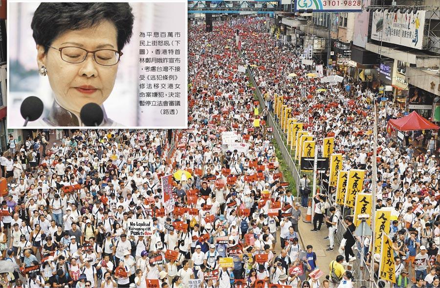 為平息百萬市民上街怒吼,香港特首林鄭月娥(小圖)昨宣布,考慮台灣不接受《逃犯條例》修法移交港女命案嫌犯,決定暫停立法會審議。(路透)