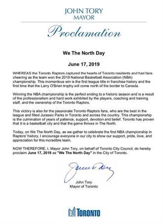 NBA》多倫多市長宣布6/17封王紀念日