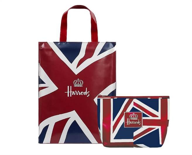 Harrods霧面款的英國國旗PVC袋和PVC化妝包,紅、藍、白英國國旗配色搭配高質感的霧面材質,每組原價2060元、特價1480元,全台限量50組。(Harrods提供)