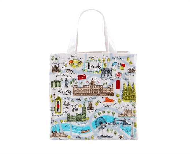 Harrods倫敦插畫地圖PVC小袋,17日至23日限定,以插畫風描繪倫敦地標倫敦塔橋、白金漢宮和倫敦動物園,清新又可愛,輕巧、耐裝、耐重,每只原價880元、特價750元,全台限量50只。(Harrods)