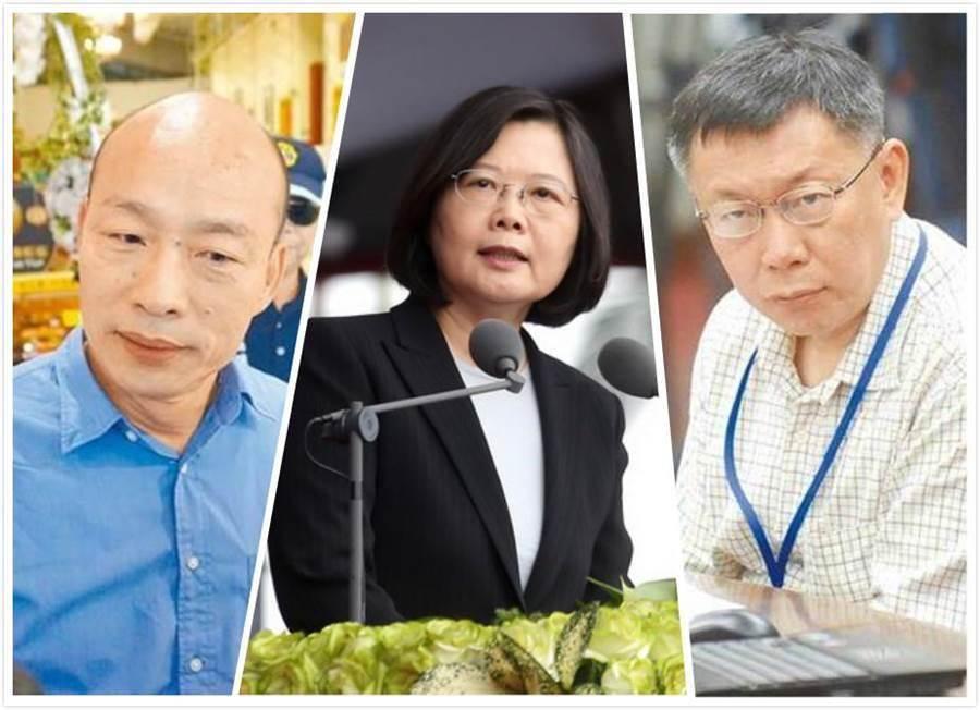 韓國瑜(左)支持度依舊領先蔡英文(中)和柯文哲(右)。(圖為中時資料照)