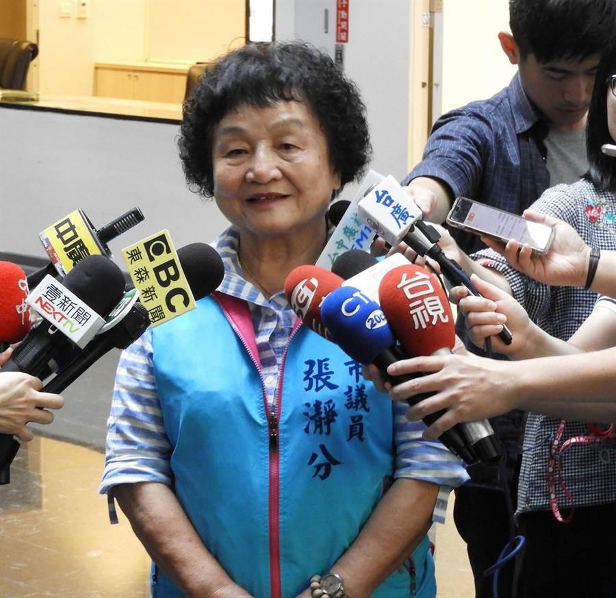 台中市議會國民黨團書記長張靜分今天緩頰說,相信韓國瑜市長會體諒盧秀燕市長。(陳世宗攝)