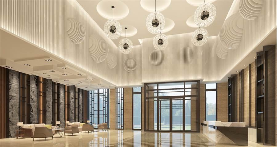 挑高8米接待大廳,「樂捷市」提供飯店式物管服務。圖/業主提供