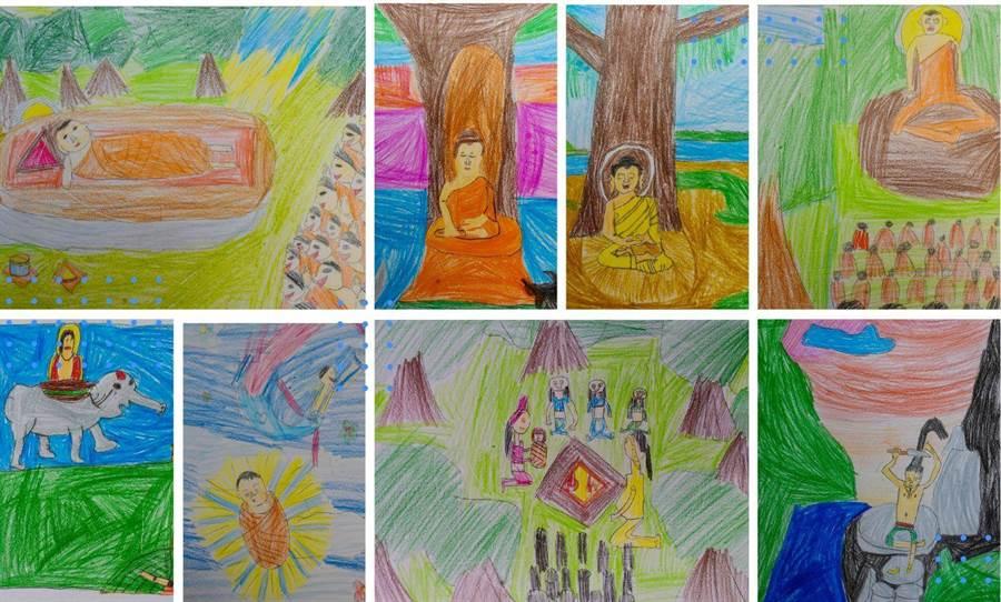 念國小的李崇輝及賴品旭表兄弟倆分工合作畫《佛陀八相成道圖》,畫風童稚質樸。(廖素慧翻攝)