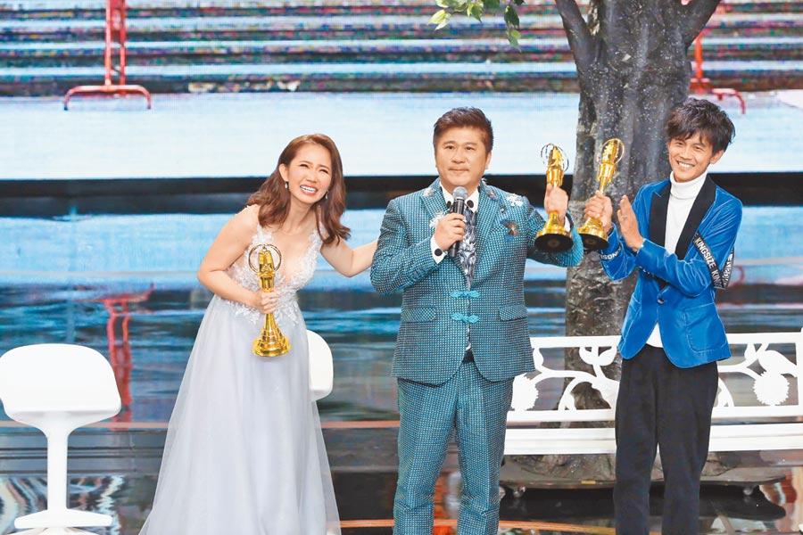 謝忻(左起)、胡瓜與阿翔因主持《綜藝大集合》獲得金鐘獎肯定。(資料照片)