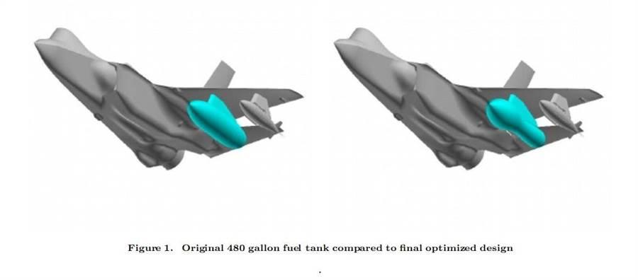 洛馬公司最早規劃的F-35外掛460加侖油箱有2種不同方案。(圖/美國航天航空學會)