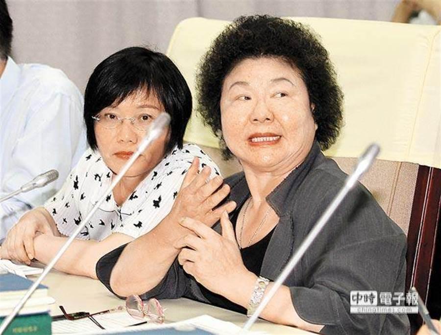 前高雄市長陳菊(右)。(資料照片)