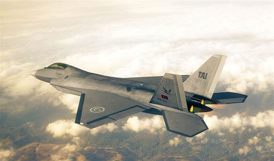 土耳其自製5代隱形戰機原型TF-X。(土耳其航空航天工業,TAI)