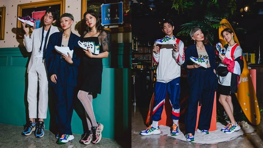 JUDY、王可元、陳艾琳展現ASICS最新老爹鞋的整體穿搭。(圖/品牌提供)