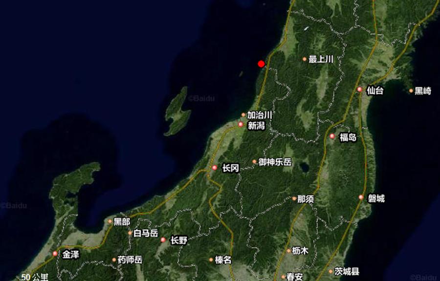 日本山形縣海岸規模6.8地震。(圖/取自google地圖、中國地震台網)