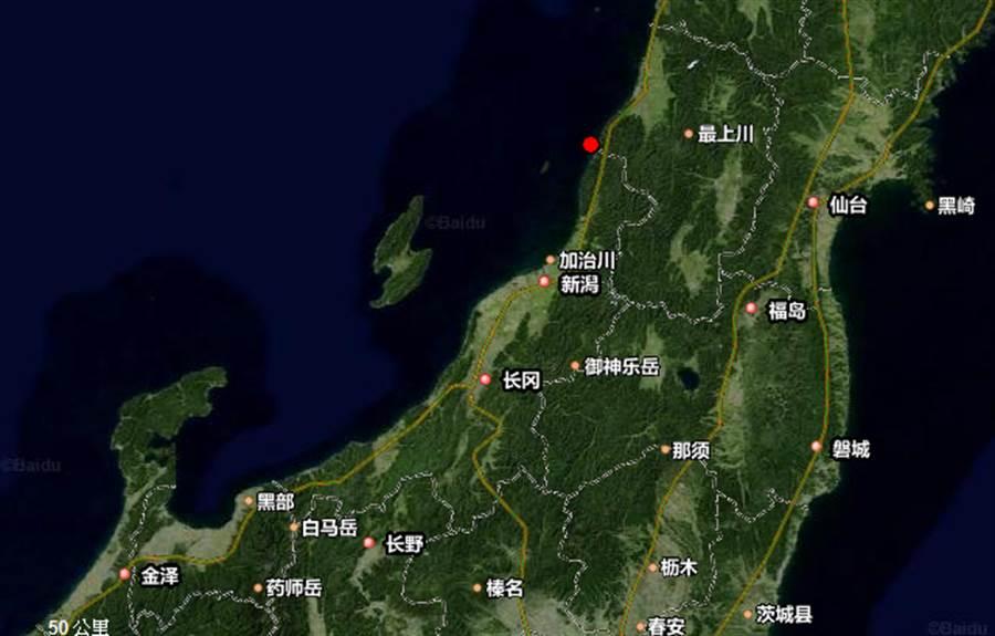 日本新潟山形發生規模6.8強震。(圖/中國地震台網、Google地圖)