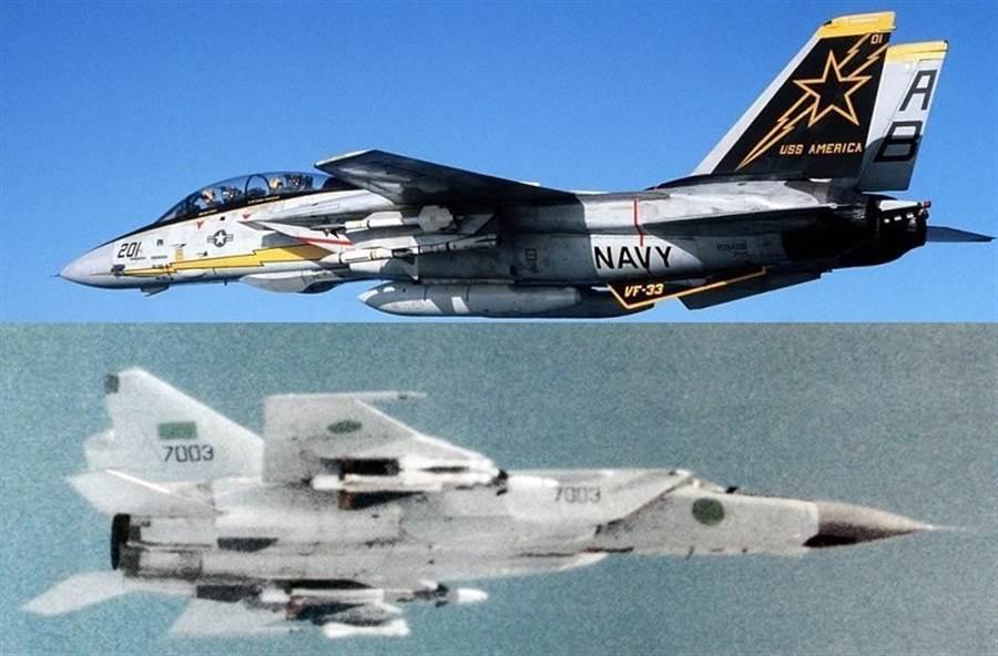 F-14與MiG-25,都是著名的攔截機,不過F-14的空戰纏鬥能力更好,性能也更全面。(圖/美國海軍、俄國空軍)