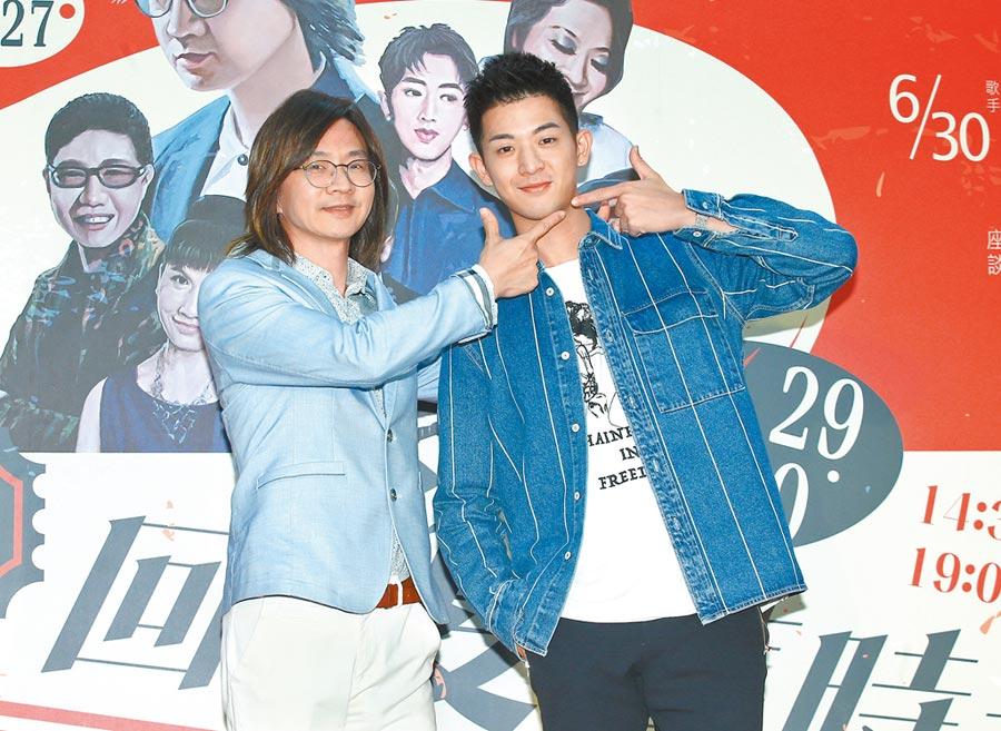 林隆璇(左)昨與兒子林亭翰一同出席活動。