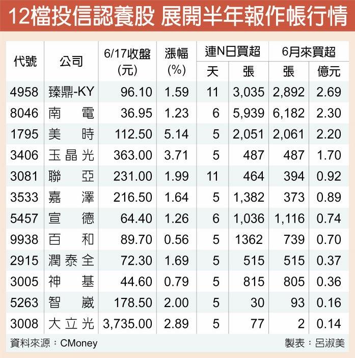 12檔投信認養股 展開半年報作帳行情