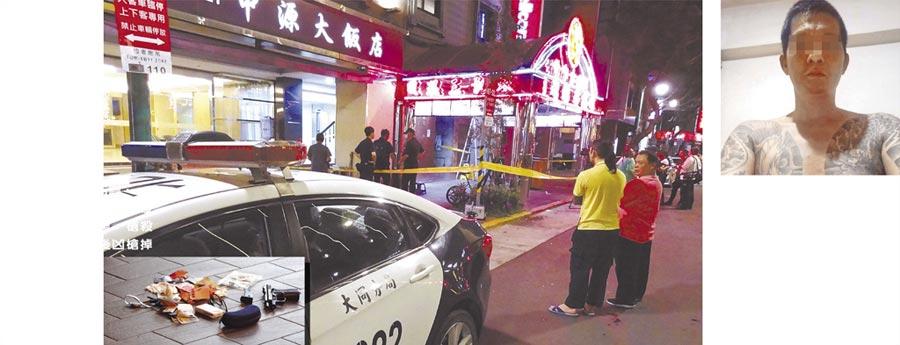 男子黃坤仁(右圖,取自臉書)16日深夜酒後到北市天龍三溫暖,槍殺泊車員工,犯案後凶槍掉落現場。(謝明俊攝)