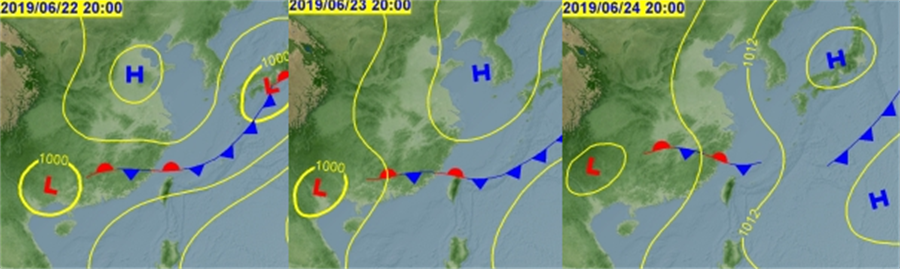 周六(22日)鋒面接近;周日(23日)影響;下周一、二(24、25日)遠離。(氣象局)