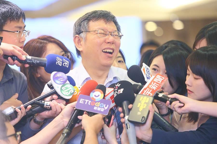 台北市長柯文哲(中)。(張鎧乙攝)