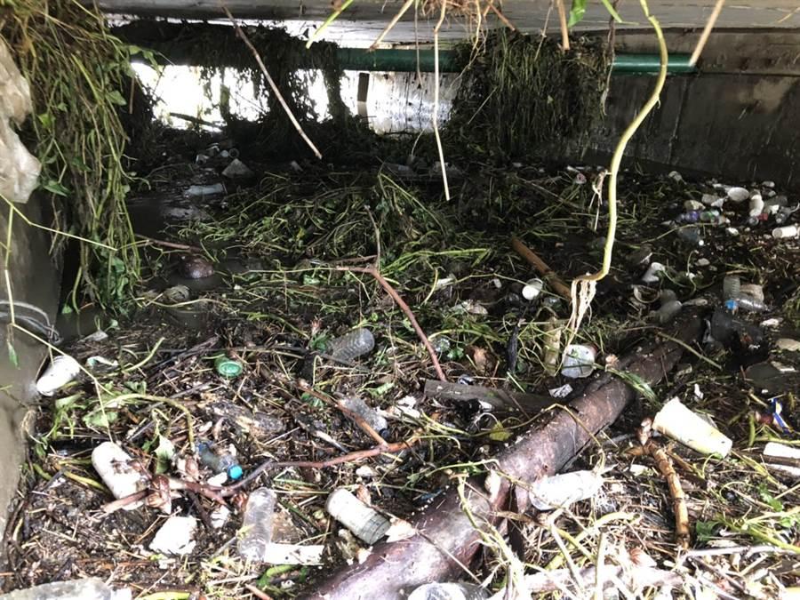 高雄排水溝淤塞嚴重,市長韓國瑜受訪時不禁感嘆「高雄人這幾年到底怎麼熬過來的?」(高雄市政府提供)